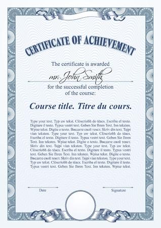 Blue certificate template. Vertical.