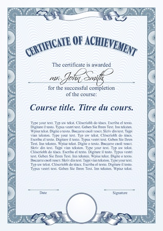 Blue certificate template. Vertical.  Vector