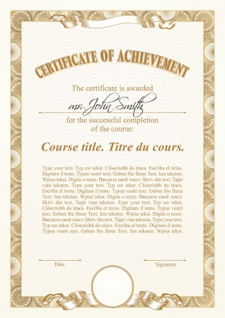 Gold certificate template. Vertical.  Illustration
