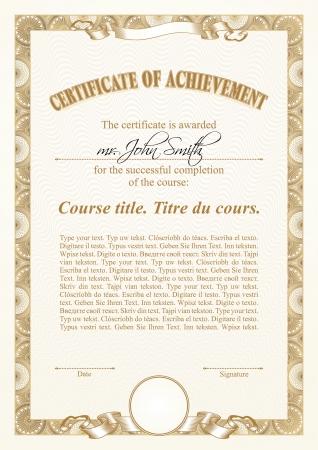 Gold certificate template. Vertical.  Illustration