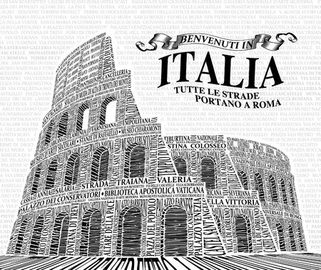 Picture of the Roman Colosseum made of the names of places of interest. Vector. Black and white. Illustration