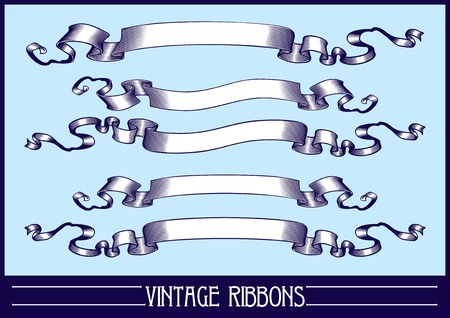 Vintage ribbons set. Vector. Vector