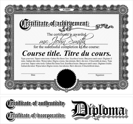 diplomas: Black & white certificate template. Horizontal. Additional design elements.
