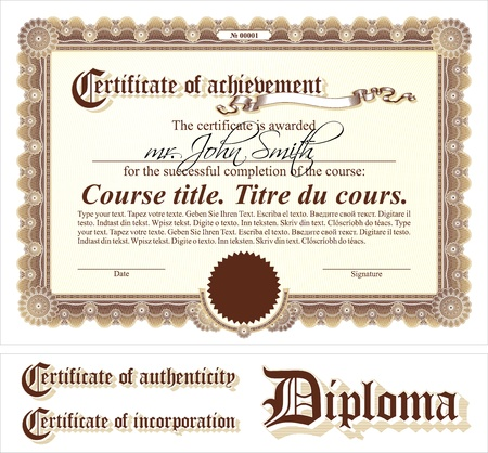 stock certificate: Brown & gold certificate template. Horizontal. Additional design elements.