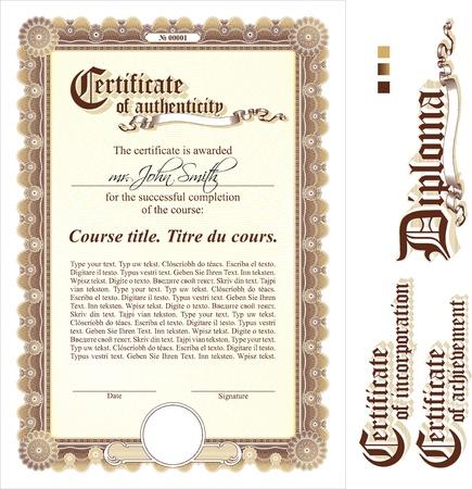 Brown et modèle de certificat d'or. Verticale. Éléments supplémentaires de conception.