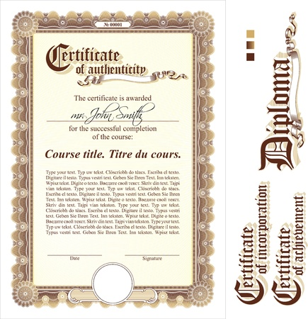 certificat diplome: Brown et mod�le de certificat d'or. Verticale. �l�ments suppl�mentaires de conception. Illustration