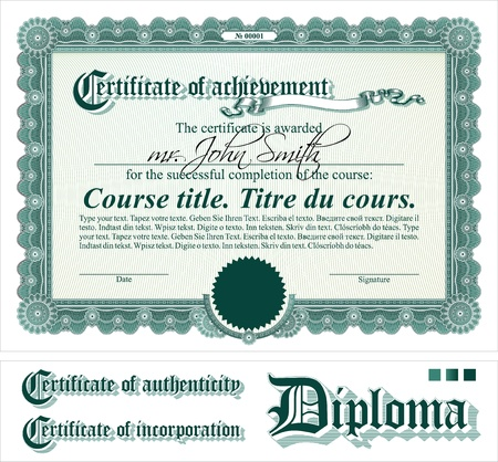 diploma border: Green certificate template. Horizontal. Additional design elements.