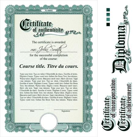 certificate frame: Green certificate template. Vertical. Additional design elements. Illustration