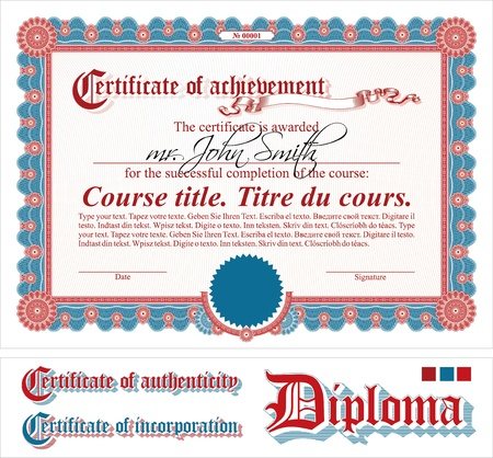 Vinous certificate template. Horizontal. Additional design elements. Illustration
