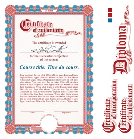Vinous certificate template. Vertical. Additional design elements.
