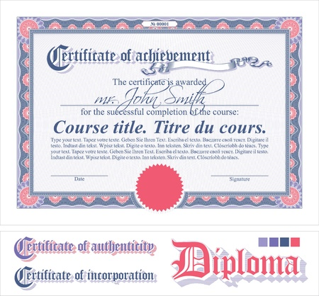 stock certificate: Pink& lilac certificate template. Horizontal. Additional design elements.
