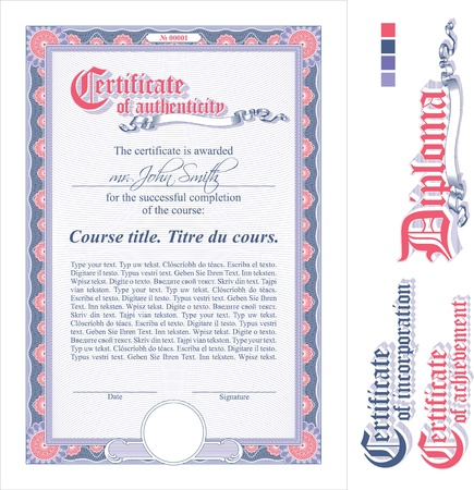 stock certificate: Pink& lilac certificate template. Vertical. Additional design elements.