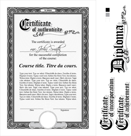 Black & white certificate template. Vertical. Additional design elements.