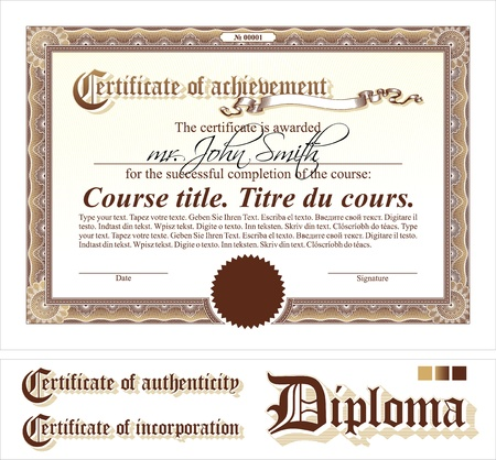 Brown certificate template. Horizontal. Additional design elements. Illustration