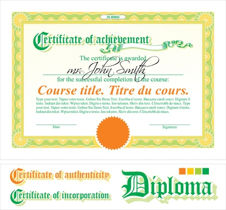 Green & orange certificate template. Horizontal. Additional design elements.