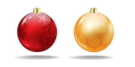 Red and orange Christmas balls with a translucent pattern  Christmas tree balls