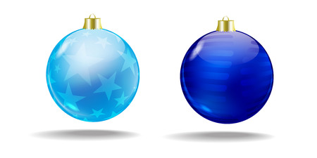 Blue and light blue Christmas tree balls  Vector  Isolated