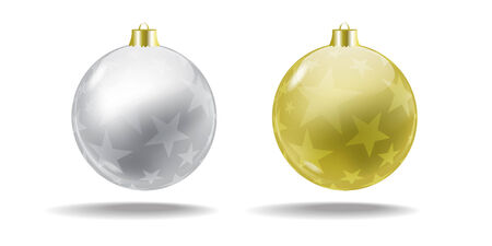 Silver and gold Christmas balls with a translucent pattern  Vector  Isolated Illustration
