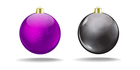 Violet and black Christmas balls with a translucent pattern  Vector  Isolated