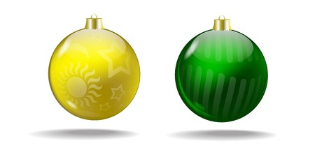 Yellow and green Christmas balls with a translucent pattern  Vector  Isolated