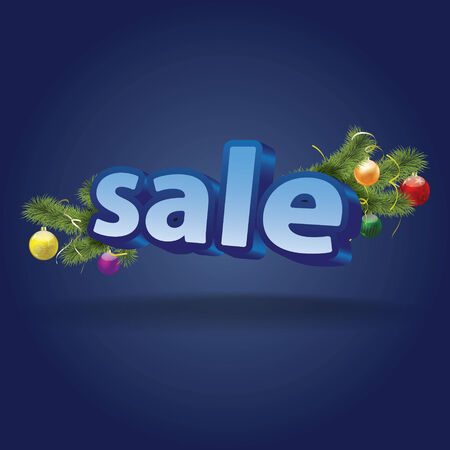 Inscription SALE  Christmas decoration  Blue  background