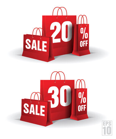 Shopping bag printed with a twenty and thirty discount  Vector  Isolated  Illustration