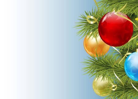 new yea: Rama de abeto con bolas de Navidad de color vectorial
