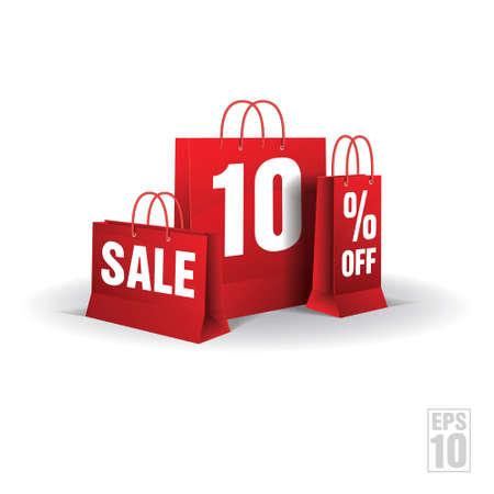 Shopping bag printed with a ten discount   Vector