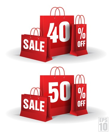 Shopping bag printed with a forty and fifty discount on a white background   Illustration
