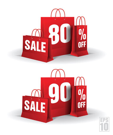 Shopping bag printed with a eighty and ninety discount on a white background   Illustration