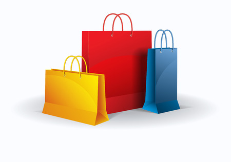 Colored shopping bags on white  Vector  Isolated
