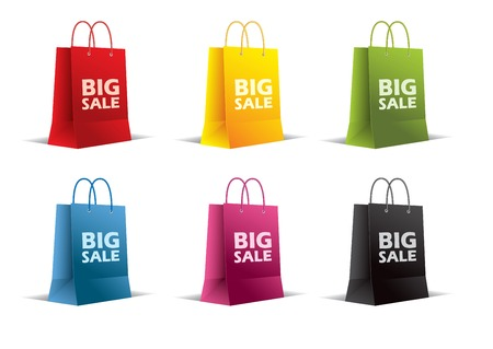 Paper bags on white  Vector  Isolated  Colored  Set