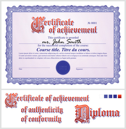 Blue certificate  Template  Horizontal  Additional design elements
