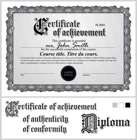 Black and white certificate  Template  Horizontal  Additional design elements