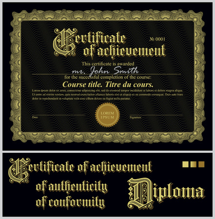 authenticity: Black and gold certificate  Template  Horizontal  Additional design elements  Illustration