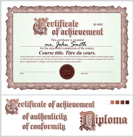 Brown certificate  Template  Horizontal  Additional design elements  Vector