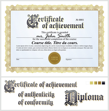 Gold certificate  Template  Horizontal  Additional design elements