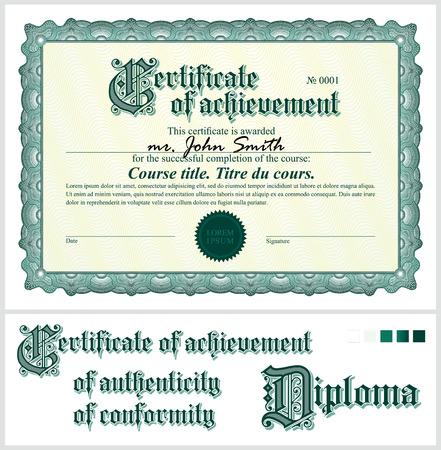 Green certificate  Template  Horizontal  Additional design elements  Illustration