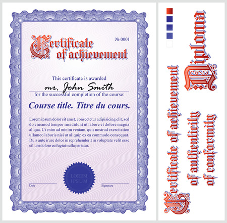 incorporation: Blue certificate  Template  Vertical  Additional design elements  Illustration