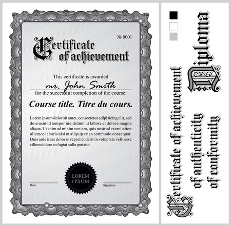 Black and white certificate  Template  Vertical  Additional design elements  Vector