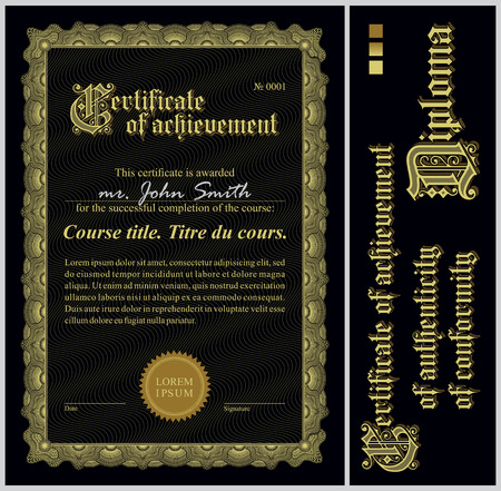 Black and gold certificate  Template  Vertical  Additional design elements