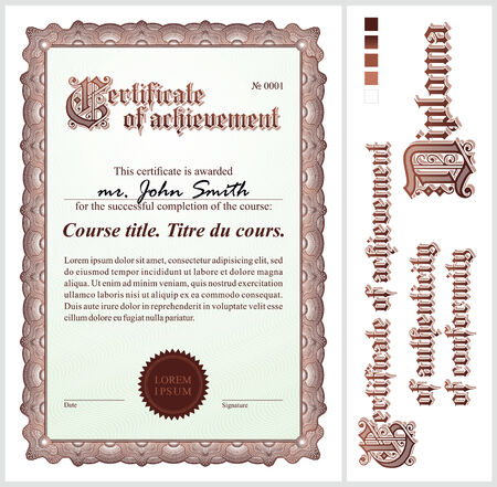 Brown certificate  Template  Vertical  Additional design elements