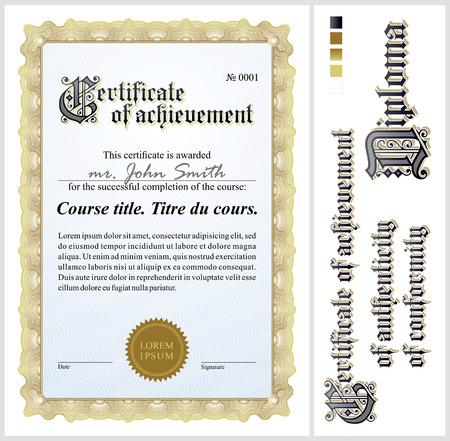 Gold certificate  Template  Vertical  Additional design elements  Illustration