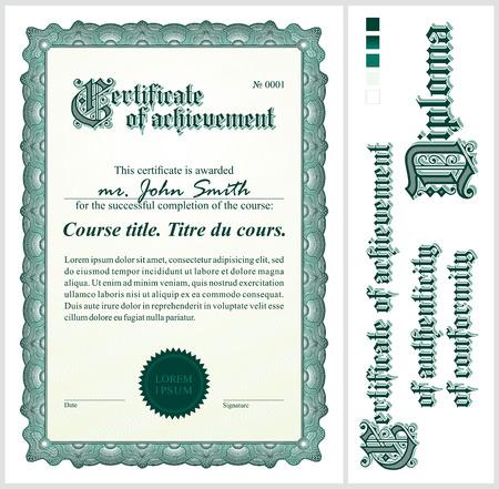 Green certificate  Template  Vertical  Additional design elements  Illustration