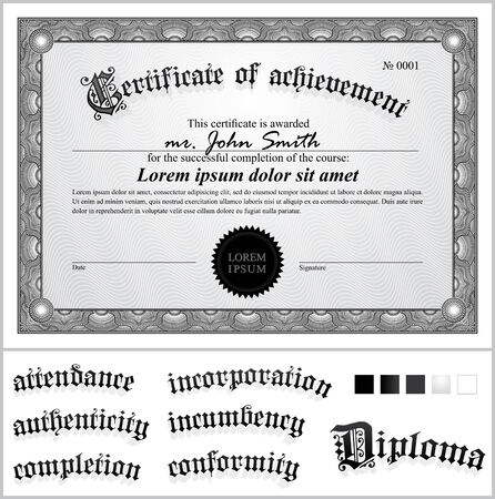 Vector illustration of black and white certificate  Template  Horizontal  Additional design elements