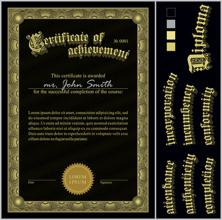 Vector illustration of black and gold certificate  Template  Vertical  Additional design elements