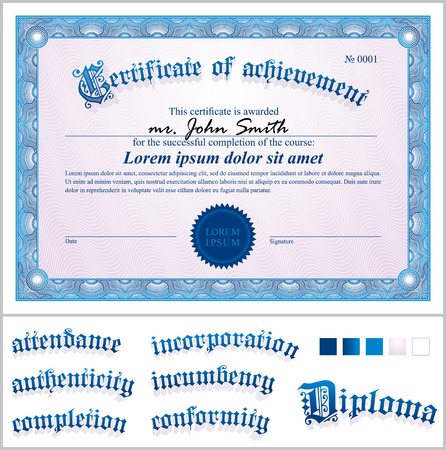 Vector illustration of blue certificate  Template  Horizontal  Vector