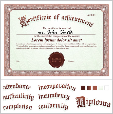 Vector illustration of brown certificate  Template  Horizontal  Additional design elements