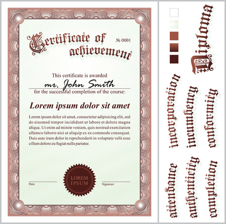 Vector illustration of brown certificate  Template  Vertical  Additional design elements