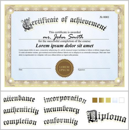 Vector illustration of gold certificate  Template  Horizontal  Additional design elements  Illustration